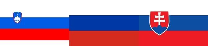 Slovenia, Russia, and Slovakia flags