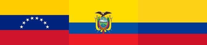 Venezuela, Ecuador, and Colombia flags